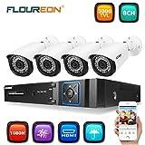 FLOUREON Système de Sécurité de Surveillance 8CH 1080N AHD DVR Enregistreur Vidéo+ 1080P 3000TVL 4X Caméras 2.0MP...