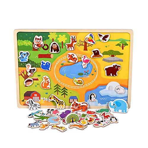 Houten Puzzel Voor 3 Jarigen Puzzel Voor 2 Jarigen Jongens Houten Puzzel Voor Kinderen Peuter Puzzel 2-3 Jaar Houten Houten Puzzel animals