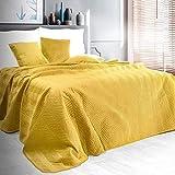 Eurofirany Exklusive Decke Tagesdecke Glamour 200x220 170x210 Steppdecke Bettüberwurf Überwurf (Sofia Gelb, 70 x 160 cm), Stoff