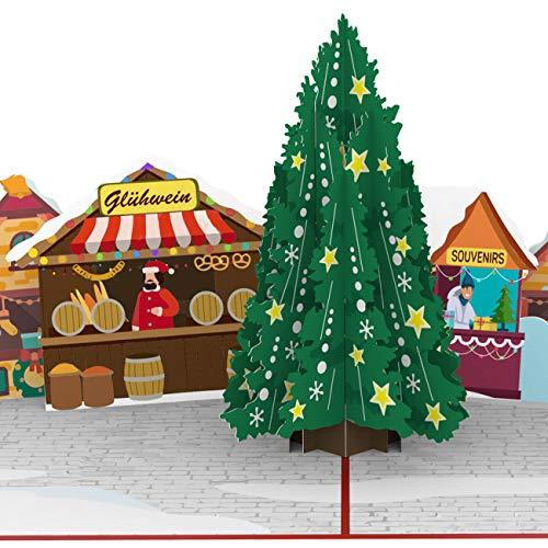 PaperCrush® Pop-Up Karte Weihnachten Weihnachtsmarkt - Besondere 3D Weihnachtskarte mit Tannenbaum und Glühwein Stand - Handgemachte Popup Klappkarte mit Weihnachtsbaum für Frauen und Männer