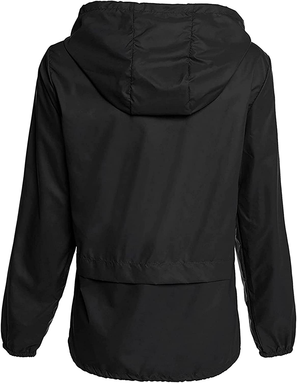 JPLZi Women's Waterproof Raincoat Active Outdoor Hooded Rain Jacket Windbreaker Lightweight Packable Hoodeds Travel Jacket