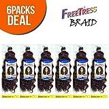 FreeTress Synthetic Hair Crochet Braids Natural Deep 10' (6-Pack, 1B)