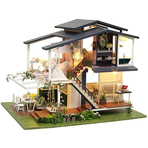 CUTEBEE Puppenhaus Miniatur mit Möbeln, Idee DIY hölzernes Puppenhaus und Musik-Bewegung, Maßstab 1:24 Kreativraum