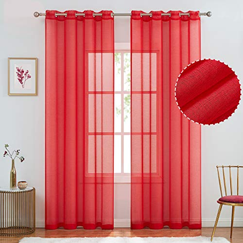 July Joy Semi Linen Look Sheer Curtains for Bedroom, Living Room Grommet Light Filtering Solid Voile Window Curtains, Set of 2 Panels (52 x 84 inch, Red)