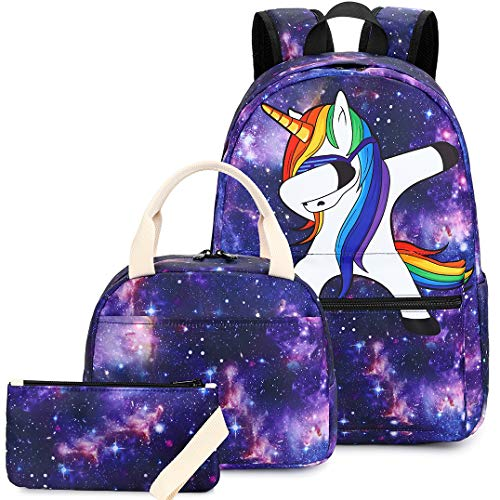 Backpack Girls School bag Bookbag Kids Teen Galaxy School Backpack Set with Lunch Bag and Pencil Case for Elementary School