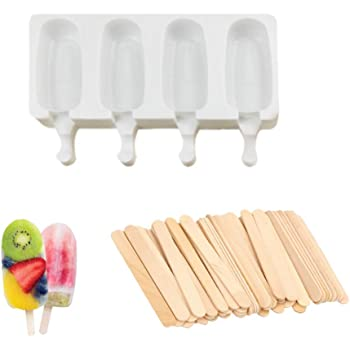 Wiixiong Silicone Popsicle Molds Set 4-Cavity 4//8 Cavities Oval Ice Cream Freezer Mold Can be used in Oven Refrigerator with 50 Wooden Sticks for Homemade DIY Ice Cream Cakesicle S