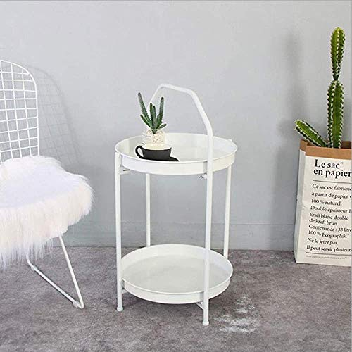 H-CAR Sofa Table,End Side Tables, Small Modern Metal End Table Side Table Coffee Table, Easy To Assemble Double Layer Decor Indoor And Outdoor Snack Table (Color : White)