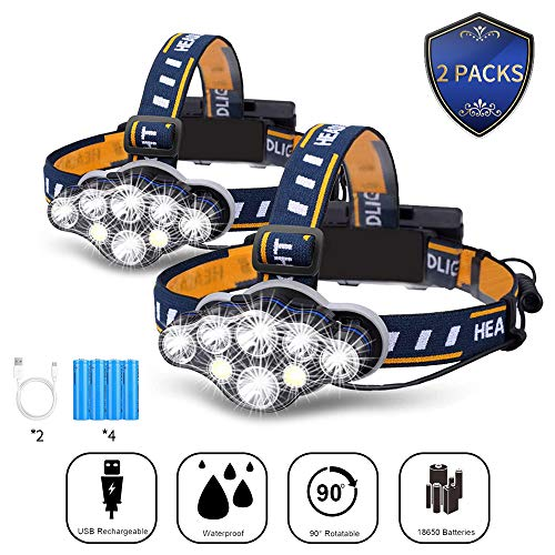 Headlamp Flashlight (2 Packs),8 LED Headlight Flashlight USB Rechargeable Waterproof,Super Bright Head Lamps for Running Camping Cycling Fishing Outdoor