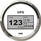 KUS Velocímetro digital GPS impermeable con luz de fondo para buque, barco, yate, 85 mm, 9-32 V, color blanco