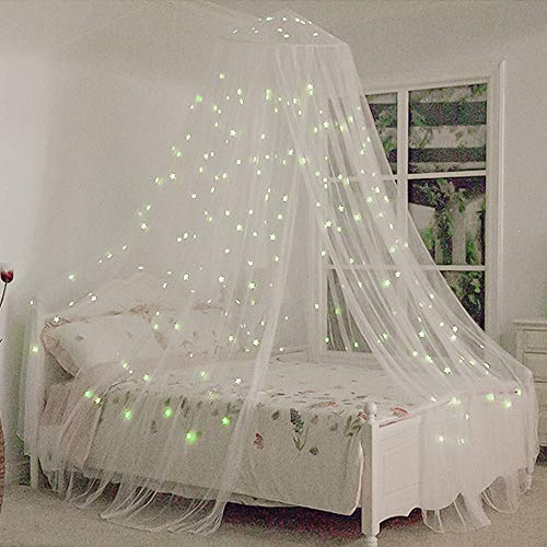 Funkprofi Bed Canopy with Fluorescent Stars Glow in Dark for Baby, Kids, Girls Or Adults, Anti Mosquito