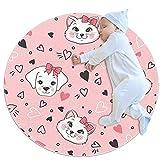 JHKHJ Alfombra infantil círculo alfombra, utilizado en la familia dormitorio sala de juegos decoración piso rosa gato y perro amor 70x70cm