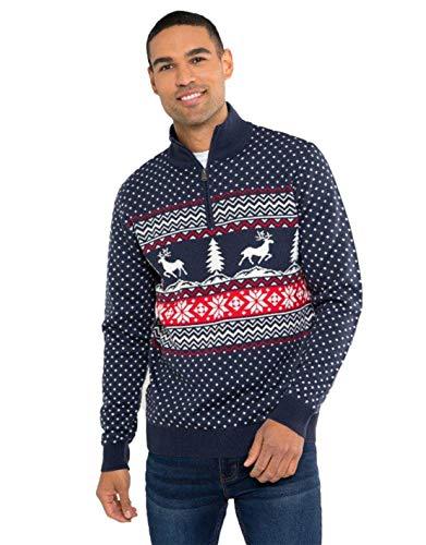 NOROZE, maglione natalizio unisex, fantasia Fair Isle, a maglia grossa, per uomo e donna Reindeer Tree Navy M