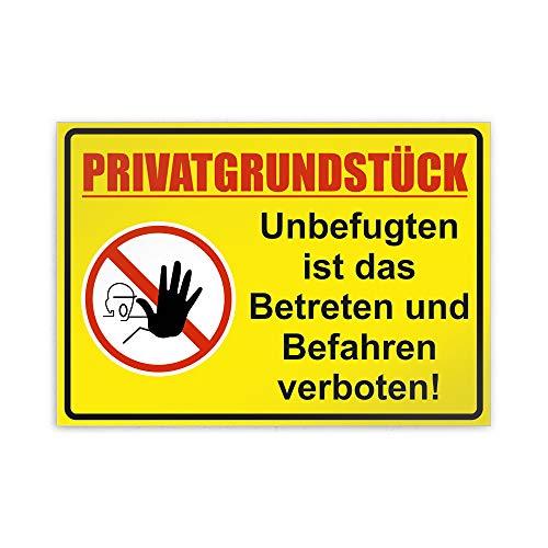 Kiwistar Privatgrundstück Unbefugten ist das Betreten und Befahren verboten! Parkplatzschild PVC - 42 x 30cm