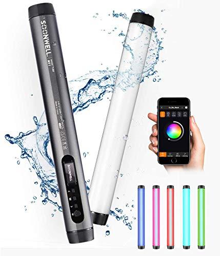 Soonwell MT1 RGB LED Lichtstab, Handheld Fotografie Licht mit 20 Special Effecs, Wiederaufladbare Wasserdichte LED Video Licht mit OELD Bildschirm