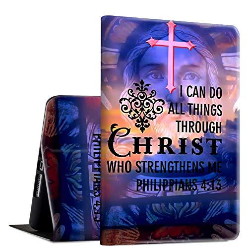 Rossy - Funda para tablet Amazon Kindle Fire HD 8 (7ª/8ª, 2017/2018), piel sintética tipo libro con función atril ajustable y función de encendido y apagado automático, diseño de cristianos filipenses 4:13