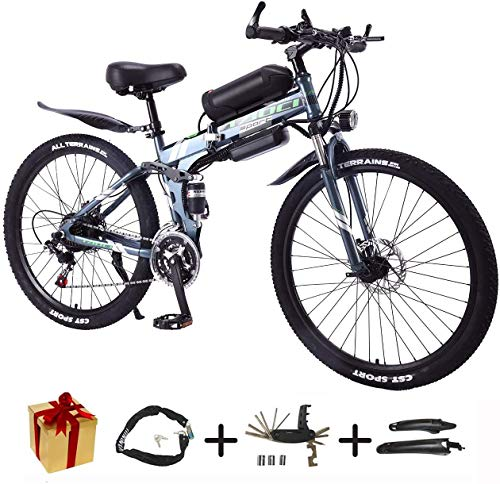BIKE Electric Bicycle, Folding E-Bike - 26 inch Wheel Electric Bike Aluminum Alloy 36V Mountain Cycling Bicycle, Shimano 21-Speed for Adults Gray-90Km,Gray,90Km