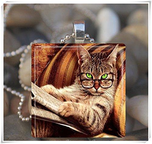 Elf huis bibliotheek kat glas tegel hanger, kunst kettingen, glas sieraden, puur handgemaakt