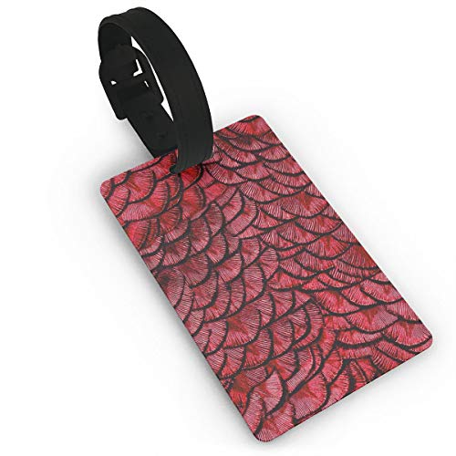 RZM YLY Dragon Scales Red Luggage Tag Travel Bag Suitcase Labels W/Privacy Cover Tags Travel ID Label for Bag with Strap