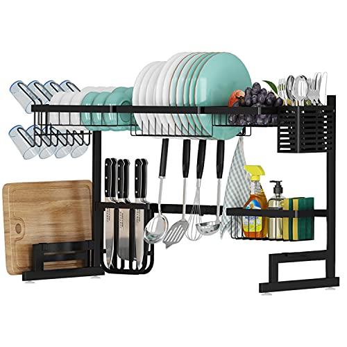 AIYAKA, Over The Sink Dish Drying Rack,2-Tier Stainless Steel Kitchen Utensils Storage Rack,Width Adjustable,Black