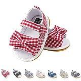 Sandali da Bambina, Bowknot Scarpe per Neonata Estive Scarpine Primi Passi (21 EU, Rosso)