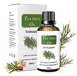 Huile Essentielle d'Arbre à Thé 50ML, Huile d'Arbre à Thé 100% Pure et Naturelle Bio, Tea Tree Oil, Huile Essentielle d'Arbre à Thé Aromathérapie pour Diffuseur, Thérapeutique Massothérapie Qualité