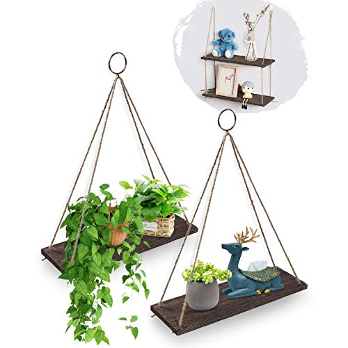 AGSIVO Hanging Shelves Wall Mounted Wood Shelves with 2 Rings Lightweight and Durable Farmhouse Rope Shelves for Living Room Bedroom Bathroom Kitchen