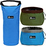 Collapsible Dog Bowl Kit, Awakelion Portable Travel Dog Food Carrier + 2 Pack Dog Bowls for Food and Water,Perfect for Medium & Large Dog