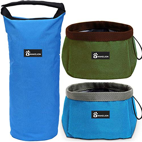 Awakelion Collapsible Dog Bowl Kit, Portable Travel Dog Food Carrier + 2 Pack Dog Bowl for Food and Water,Perfect for Medium & Large Dog
