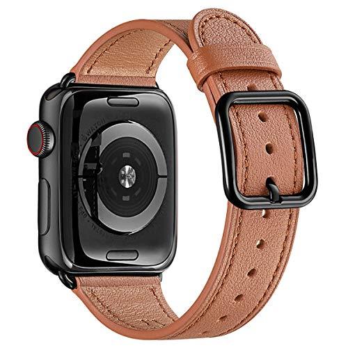 MNBVCXZ Correas compatibles con Apple Watch - Correa de cuero de grano superior [Edición de diseño único] [Marrón y negro - 42mm 44mm]