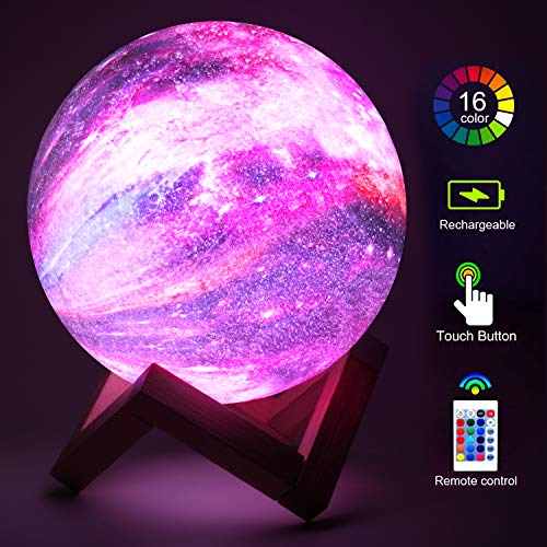 Elstey Moon Lamp 3D Star Galaxy Lamp 16 Colors 5.9 Inch Kid Moon Night Light with Wood Stand, Remote...