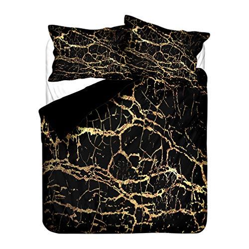Marble Bedding set Modern Blue Navy Blue White Black Golden Duvet Cover and Pillowcase Microfiber Boy Girl (Style 2,Super king 220x260 cm)