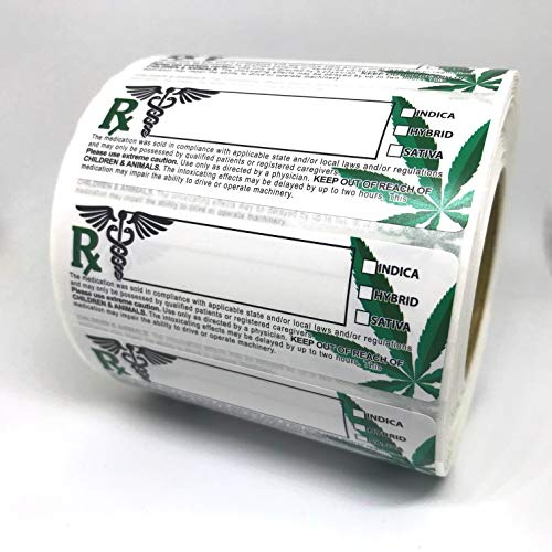 Generic Medical Rx Leaf Labels 3x1 inches, 1000 Stickers per roll, Universal Compliant Identification Adhesive Labels