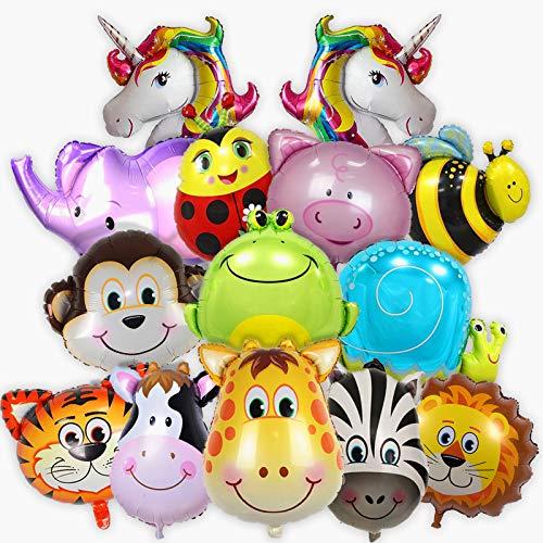 Balloono Folienballons mit Tieren - Dekoration für Geburtstag & Party - Heliumballons, viele Bunte Tiere - Schweben mit Helium-Füllung - Einfaches Befüllen - Für Mädchen & Jungen - 14er-Pack