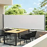 vidaXL Toldo Lateral Retráctil para Patio Separador Jardín Terraza Balcón Pantalla Solar Viento Enrollable Función Retroceso Automático Crema