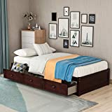 MERAX Wood Platform Bed with 3 Drawers, Wood Slat Support, No Box Spring Needed, Twin Size