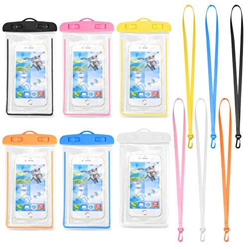 6 bolsas impermeables para teléfono, bolsa impermeable portátil con cordón, funda universal para teléfono de hasta 6 pulgadas, funda impermeable para piscina, playa, natación, kayak, viajes