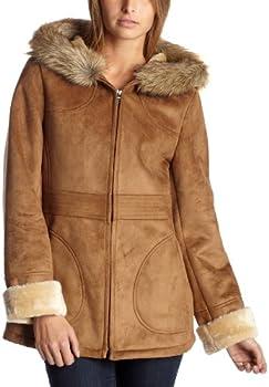 Fleet Street Women s Hooded Shearling,Chestnut,Large