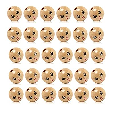 YF 30PCS Natural Smile Face Wood Round Beads Charm for DIY Craft Making Findings 22mm