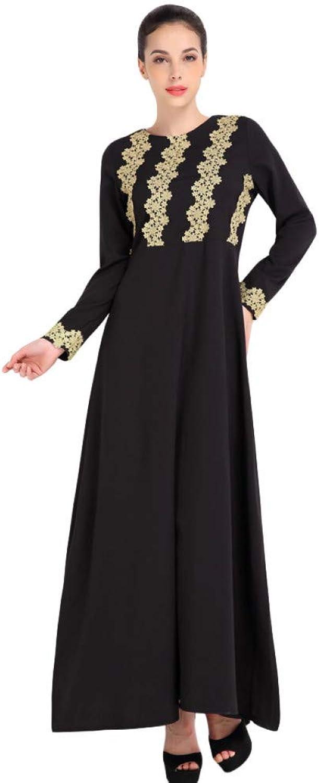 FUZHUANGHM Muslim Women Long Sleeve Dubai Dress Islamic Lady Vintage Dress Clothing Kaftan Mgoldccan Fashion Embroidey Robe Femme