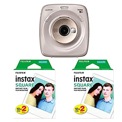 Fujifilm instax Square SQ20 Hybrid Instant Camera, Beige Bundle with 2 Pack, Instant Color Film, Twin Pack - 20 Exposures(40 Total), White Frame by FUJIFILM