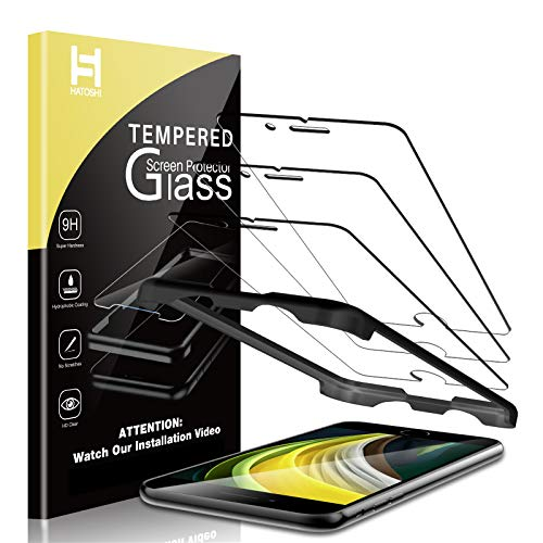 HATOSHI 3 Pack Screen Protector Compatible for New iPhone SE 2020, iPhone SE2, iPhone 8 7 6, 4.7-inch Tempered Glass, Easy Installation Alignment Tray HD Clear Case Friendly Tempered Glass Screen Protector