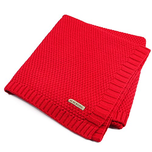 Per Wickeldecke aus Bio-Baumwolle, Strickdecke für Babys, Neugeborene, Jungen, Mädchen, Kinder