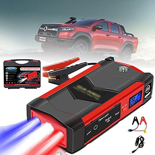GGMWDSN 12V Auto Starthilfe, 1000A Peak 28000Mah (60L Benzin/4,0L Dieselmotor) Autobatterie Booster Booster Batterien Power Pack für Notstart Von Fahrzeugen