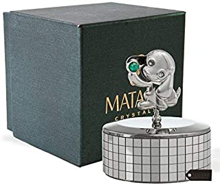 "Matashi Chrome Plated Puppy Dog Music Box ""Memory"" 