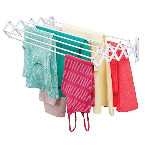 mDesign Tendedero extensible de metal – Práctico tendal plegable para secar ropa en el lavadero – Compacto tendedero de pared tipo acordeón, ideal para ahorrar espacio – blanco