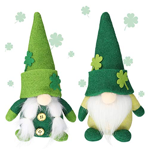 2 Pieces St. Patrick's Day Gnome Irish Leprechaun Tomte Plush Handmade Scandinavian March Nisse Elf Dwarf Green Scandinavian Felt Gnome for Home Holiday Decoration Ornaments (Sweet Style)