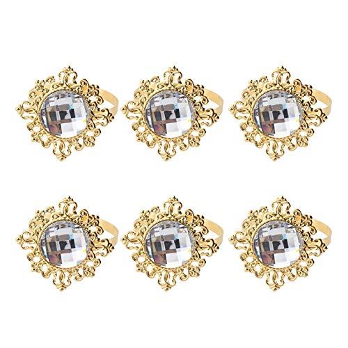 ESORST Servilletero 12pcs acrílico servilleta Anillos servilletas Boda Banquete Cena decoración Apto para Mesa de Comedor (Color : Golden)