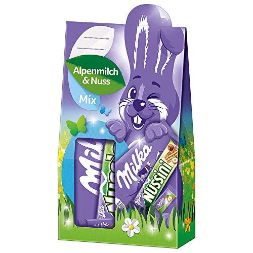 Milka Geschenkbox Alpenmilch und Nuss Mix Ostern 1 x 163g, Mischung aus Milka Spezialitäten
