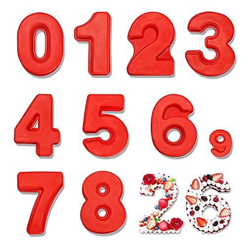 Juego de Moldes de Silicona con Números, 9 piezas 25cm Molde Grande para Hornear Pasteles Digital de 0 a 8, Antiadherente Molde de Silicona Apto para Aniversario cumpleaños