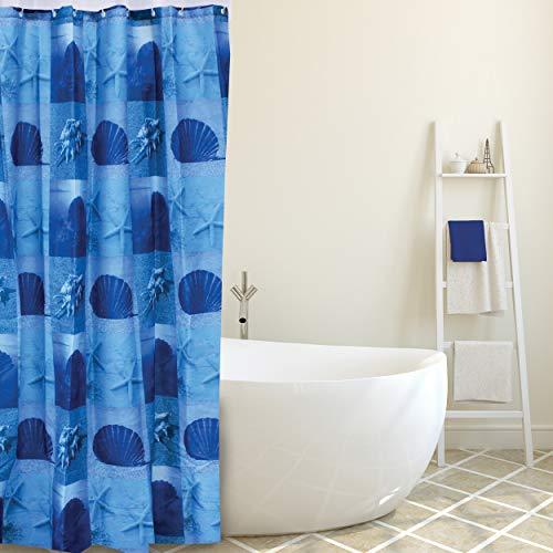 "MSV Anti-Schimmel Duschvorhang - Anti-Bakteriell, waschbar, wasserdicht, mit 12 Duschvorhangringen - Polyester, ""Blau Muscheln"" 180x200cm"